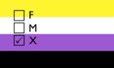 Nonbinary flag with three gender boxes (F, M, and X) superimposed, with the X box checked